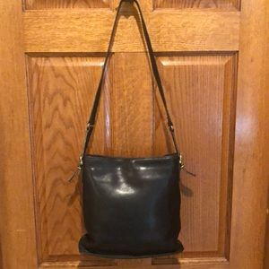 Rare Coach Equestrian black Leather Bucket Bag